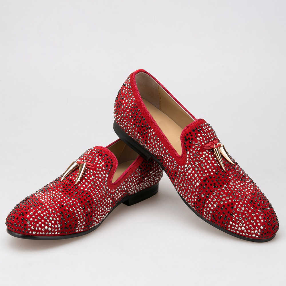 bc8211225572 red and black suede men shoe with gold tassel and exquisite crystal men  wedding and party