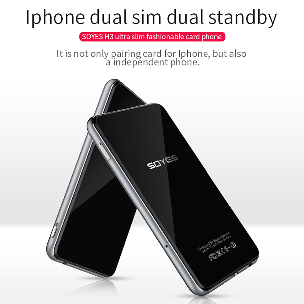 Dual SIM Dual Standby Smart Adapter Phone SOYES H3 Ultra thin 8G Memory Pedometer Bluetooth Music GSM Mini Card Phone