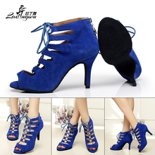 Lacing Flannel Spring and Summer Boots Soft Bottom Dance Shoes Zipper Women's sandals Latin Salsa Dance Shoes Blue/Red