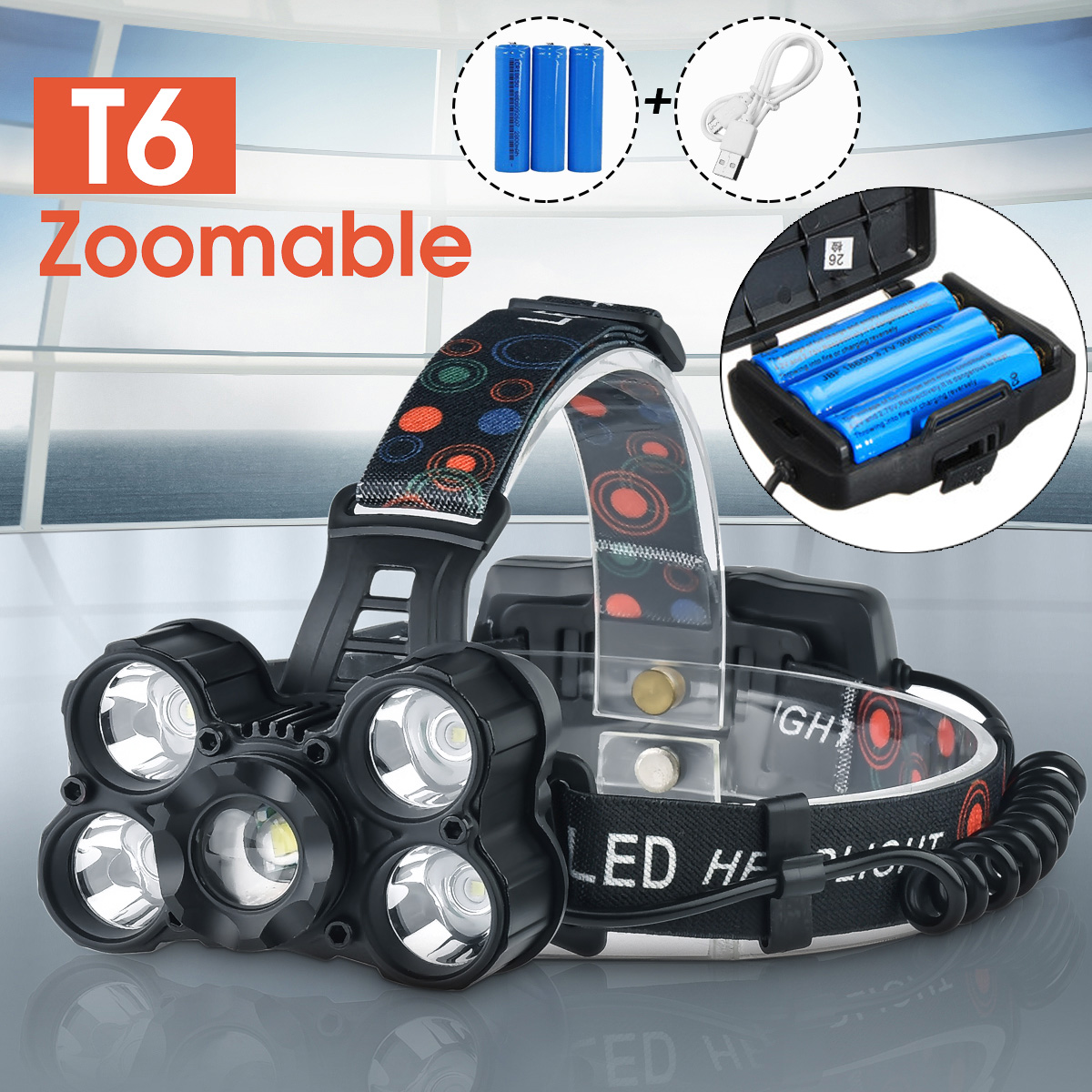 60000lm LED Headlamp 5 T6 Fishing Headlight Bike Flashlight Torch Forehead Zoom Head Lamp Light 3*18650 Rechargeable Battery rechargeable cree xml t6 2000lumens zoom head lamp torch led headlamp 18650 battery headlight flashlight lantern night fishing