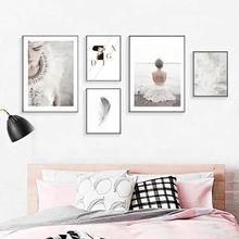 Красивая девушка стены искусства белый перо холст живопись цитаты