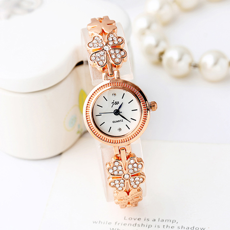 Casual Gold Watch Women Flowers Bracelet With Metal Hand Watch Rhinestones Quartz Clock Relogio Feminino Fashion Montre Femme 5