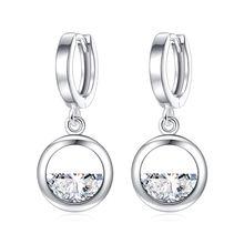 Серьги подвески из серебра 925 пробы с круглым полукруглым кристаллом