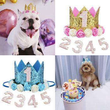 Wysokiej jakości kot domowy pies urodziny na przyjęcie do czapki od jednego do pięciu czapki pierwsze urodziny księżniczka korona Party Puppy Kitten dobrodziejstw pałąk tanie i dobre opinie Floral Legendog Cloth glitter artificial flower
