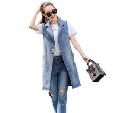 Bust(104-133cm)S-3XL Spring Women denim vest 2018 Plus Size Summer Jacket Cardigan Ladies Jeans Waistcoats Long Vest Women LJ281