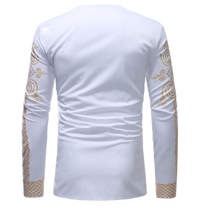 Hommes ensembles africain Dashiki vêtements coton printemps survêtement de sport mâle col en V t-shirt pantalon africain hommes Bazin Riche Costume Costume - 4