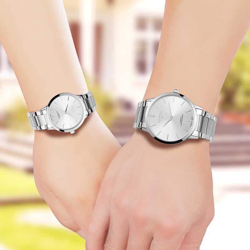 Lorinser пару часов Швейцарский кварцевые часы Полный нержавеющей стали 7 мм ультратонкий Водонепроницаемый часы Для мужчин часы Для женщин часы