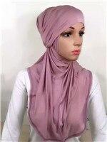 LJ6 модальный Двухсекционный мусульманский хиджаб шарф модный хиджаб оголовье шарф - Цвет: LJ60003
