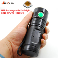 2017 SHUO LI DE New USB Rechargeable 1200 lumens CREE XPL V5 LED torch Flashlight led lamp Using 1 or 2 or 3 18650 battery