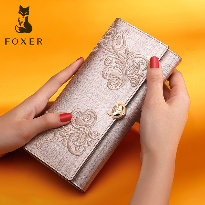 FOXER Long Wallet Coin-Purse Luxury Card-Holder Phone-Bag Fashion Women for Standard