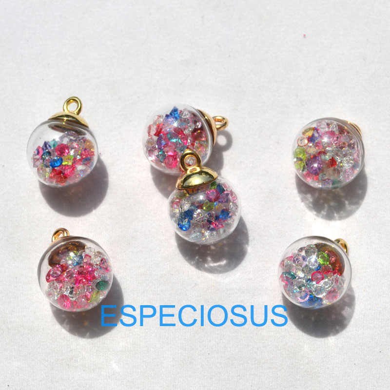 5 sztuk biżuteria znajduje magiczna kula paciorki szklane Mix kolor kryształu Charms przezroczysty wisiorek Rhinestone okrągłe koraliki do kolczyków akcesoria