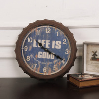 European style retro made old beer cover clock Home Furnishing creative living room wall decoration bar personality wall clock