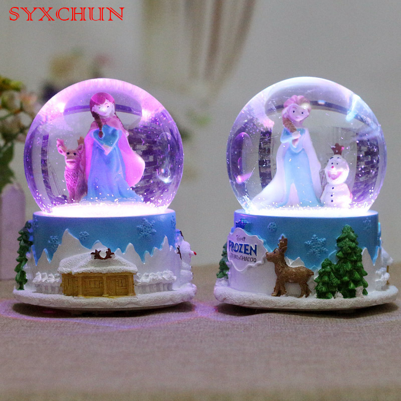 Rotating Snow Snowflake Frozen Crystal Ball Music Box Music Box Gift Girl Pupils Night Light Decoration Gifts dedo music gifts mg 308 pure handmade rotating guitar music box blue