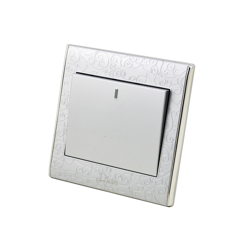 цена на Free Shipping Flame Retardant Material Silver Color 1 Gang 2 Way Electric Wall Light Switch for Home MK-WS05002