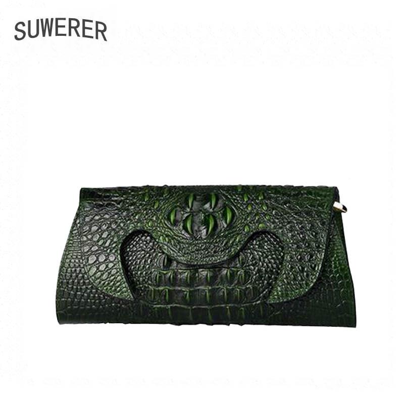 Leder Begrenzte 2018 green Designer Muster Neue Taschen Kupplung Casual Purple Handtasche Frauen Polyester Echtem brown Luxus Alligator wqXdrC1X
