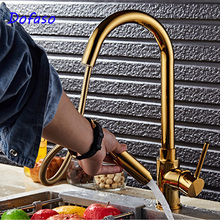 Dofaso kitchen sink Faucet Gold Pull Out Torneira All Around Rotate Swivel cold and hot Water mixer taps kitchen sink faucet with plumbing hose all around rotate swivel 2 function water outlet mixer tap faucet 5051