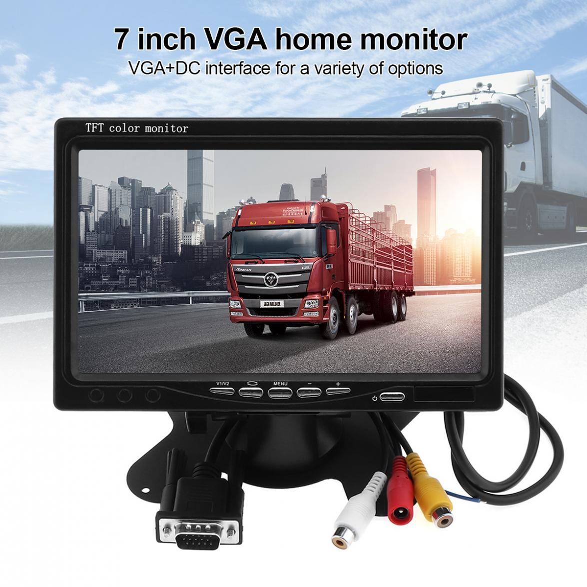 7 Inch 1024x600 12V HD TFT LCD Car VGA Home Monitor Bright Color VGA Interface AV Auto Video Player PAL / NTSC / SCAME-in Car Monitors from Automobiles & Motorcycles    2
