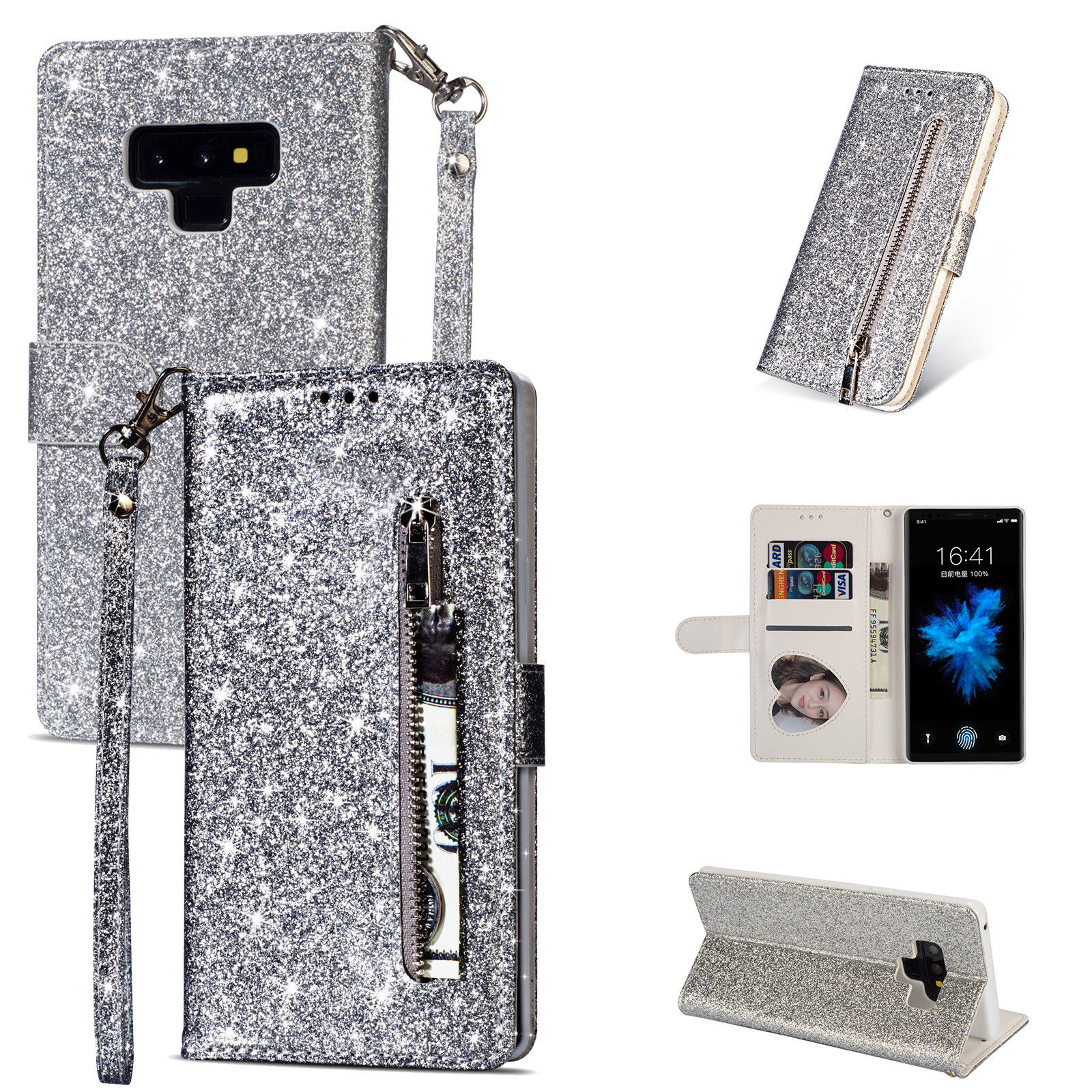 HTB1XczEdf1H3KVjSZFBq6zSMXXab Bling Glitter Case For Samsung Galaxy S10e Note 8 9 S10 Plus S9 S8 Plus S7 Edge S6 Leather Flip Stand Zipper Wallet Cover Coque