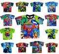 LittleSpring Retail 1 unid kid Boy Summer T-shirt Niños camiseta de manga corta camiseta de dibujos animados ben10 spiderman ropa t shirt