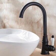 Черный бронзовый кухонный кран 360 ronating Античная blackend раковина кран холодной и горячей смеситель для кухни кран черный кухня