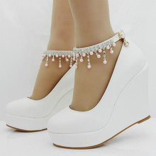 купить Women Pumps Shoes Wedges Round Toe Buckle Strap 10.5cm High Heels Platform String Bead Wedding Party Female Shoes Plus Size дешево