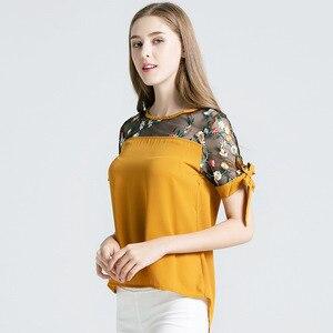 2019 Summer Women Blouse Elegant V Neck Short Sleeve Slim Fit Tops Party Shirt Casual Mesh Vintage Blouse Women