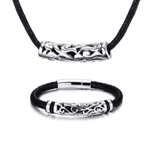 Mprainbow Men Jewelry Set Stainless Steel Antique Braided Black Leather Men's Bracelet and Choker Necklaces Fashion Jewelry New