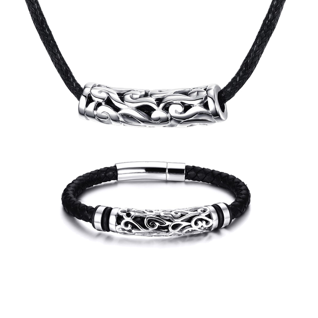 Mprainbow Men Jewelry Set Stainless Steel Antique Braided Black Leather S Bracelet And Choker Necklaces Fashion