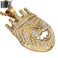 HIP Hop Iced Out Bling Full Rhinestone Lion Men Pendants Necklaces Gold Color Stainless Steel Animal