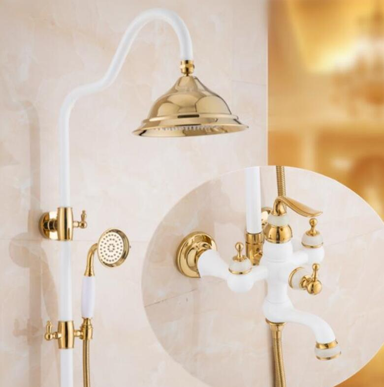 Free Shipping Polished Golden & Grilled white paint Shower Bathtub Faucet Set Wall Mounted Bathroom Rainfall Shower Faucet free shipping polished chrome finish new wall mounted waterfall bathroom bathtub handheld shower tap mixer faucet yt 5333