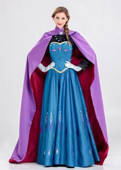 New Princess Anna Elsa princess dress princess Anna costume adult snow grow princess Anna cosplay costume for Halloween women фото