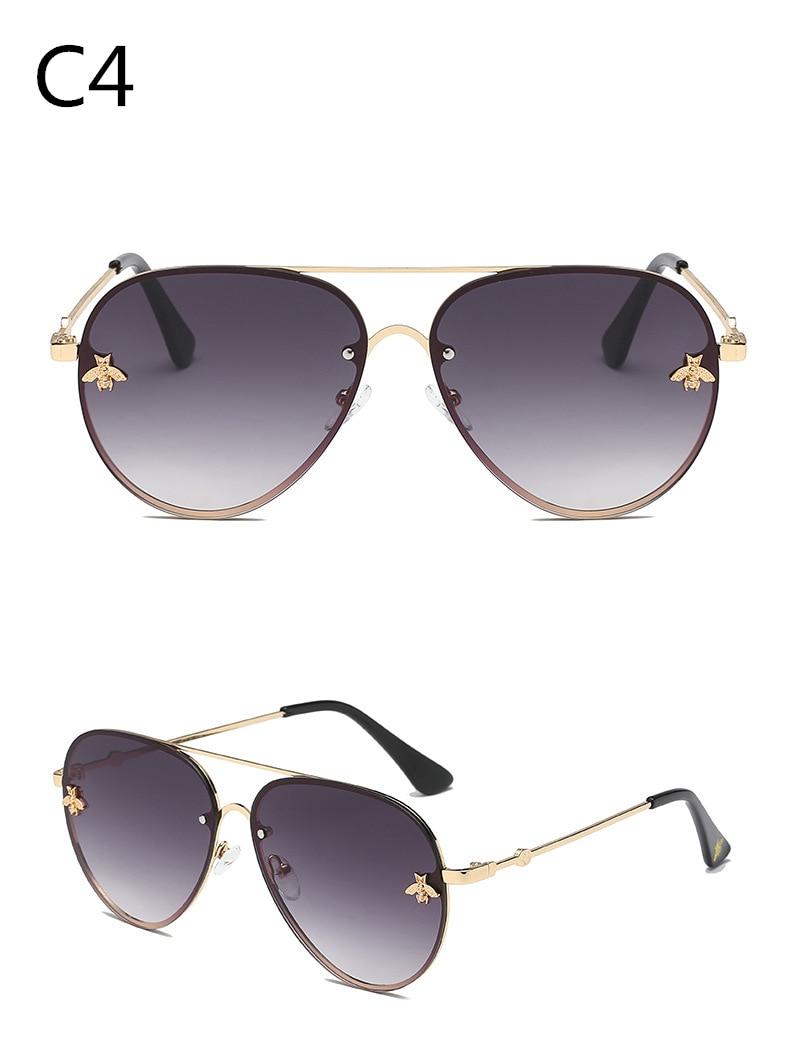 ASOUZ 2019 new fashion ladies sunglasses UV400 metal oval frame bee sunglasses classic brand design sports driving sunglasses (7)