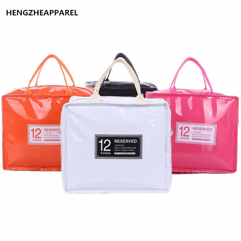 Pu Leather Lunch Package Ice Pack Thermo Thermal Bag For Women Kids Lunchbags Tote Cooler Box Insulation Picnic