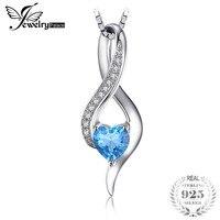 Jewelrypalace сердце любовь 0.6ct натуральная SWIS сине-белые топаз кулон 925 стерлингов Серебряные ювелирные изделия не включает цепь