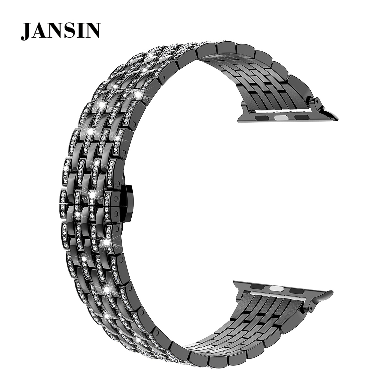 For Apple Watch Band series 3 2 1,JANSIN Luxury Crystal Rhinestone Stainless Steel Strap Watch Band for Apple Watch 38mm 42mm luxury ladies watch strap for apple watch series 1 2 3 wrist band hand made by crystal bracelet for apple watch series iwatch