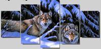 3d diy elmas boyama Kar Dağ Kurt çapraz dikiş hayvan desen Elmas Nakış elmas mozaik kurtlar İğne 5 adet