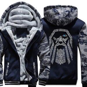 Image 4 - Winter Sweatshirt Raglan Print Jas Trainingspak Odin Vikings Truien Voor Mannen 2019 Nieuwe Mode Wollen Voering Camouflage Mouw Jassen