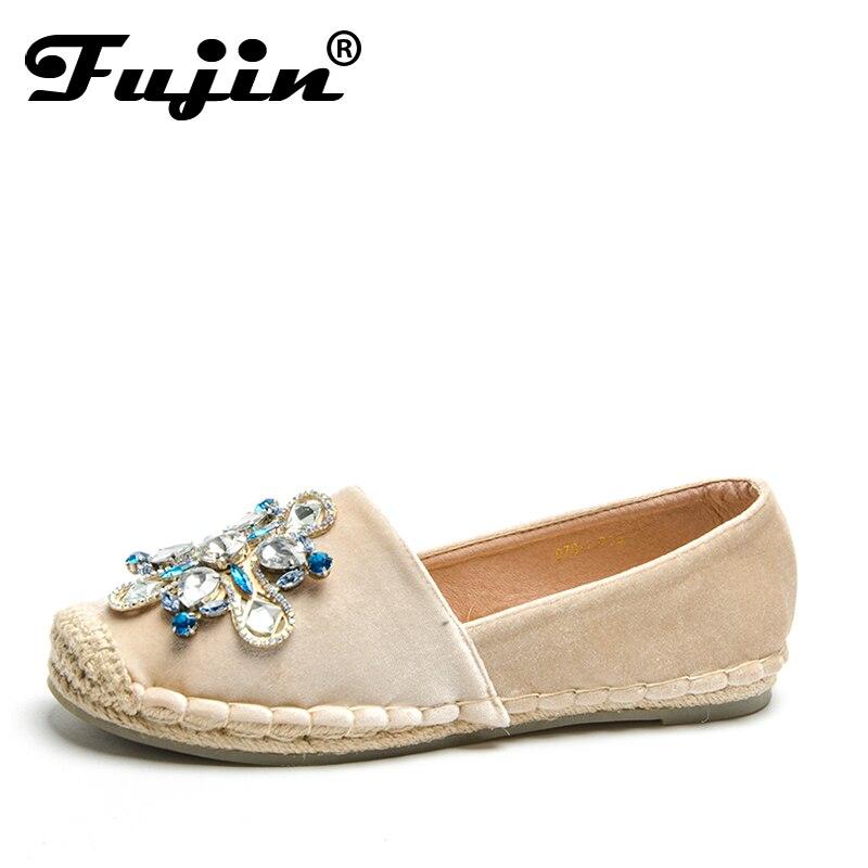 Fujin nouveauté mode strass chaussures plates femmes sans lacet femmes mocassins bout rond cristal dame baskets de haute qualité