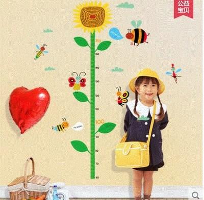 Детские размеры Ростомер рост ребенка измерения высота линейка настенная бумага Милая мультяшная Наклейка на стену - Цвет: M