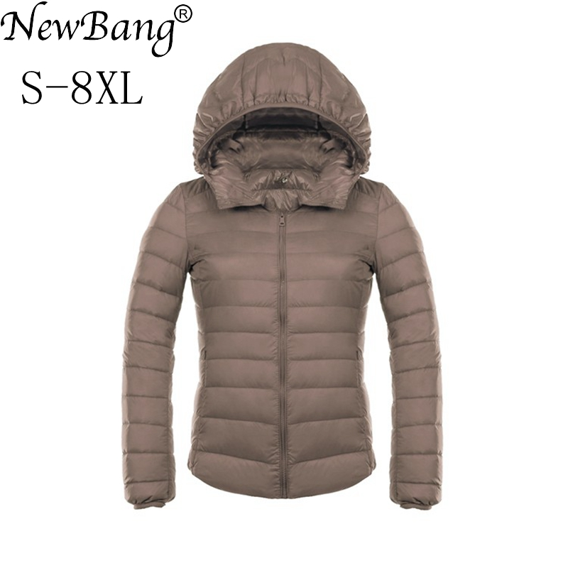 NewBang Brand 7XL 8XL Women's Jacket Large Size Down Coat Ultra Light Down Jacket Women Lightweight Warm Windproof Parka Plus