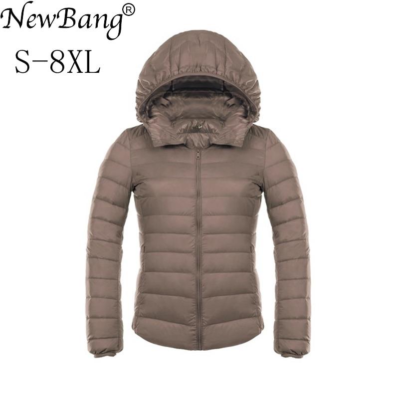 NewBang Brand 7XL 8XL Women s Jacket Large Size Down Coat Ultra Light Down Jacket  Women Lightweight Warm Windproof Parka Plus 51e78ec8a82b