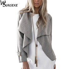 Fashion Crop Coat Jacket Outwear Grey Camel Solid Color Women Long Sleeve Turn down Collar Loose