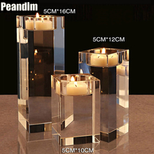 PEANDIM Creative Romantic Atmosphere Wedding Candle Holder Candlestick Party Home K9 Crystal candle holder 10cm 12cm 16cm