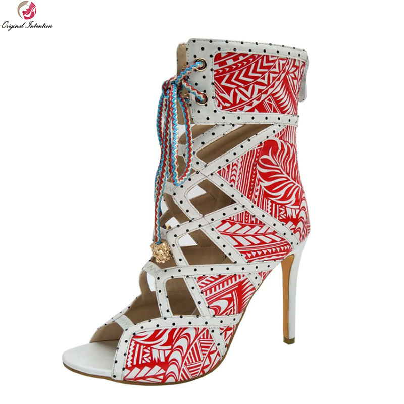 Original Intention Gorgeous Women Sandals Nice Open Toe Thin High Heel Sandals Stylish Green Red Shoes Woman Plus US Size 4-10.5