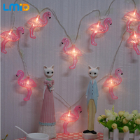 Lmid 2M 20LED Red Flamingo LED Bulbs Fairy String Light Battery Opetated Home Christmas Party Decor
