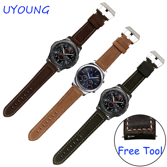 For Samsung Gear S3 Classic/Forntier Genuine Leather Watchbands 22mm Frosted Strap Release Bracelet With Clasp