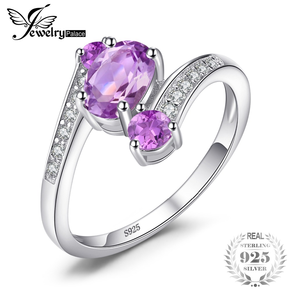 SmyckenPalace Pure 925 Sterling Silver 0.9ct Natural Amethyst 3 Stone Anniversary Ring Ovala Fashion Engagement Smycken För Kvinnor