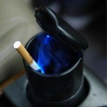 Новая портативная автомобильная пепельница синий светодиодный светильник бездымный Пепельница держатель для сигарет противоскользящая резиновая ботинка
