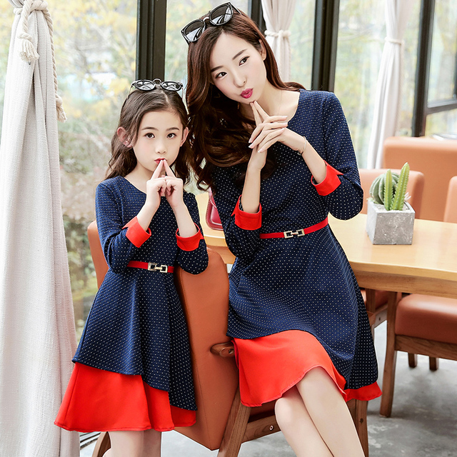2017 girls long sleeve dress matching mother daughter for Mother daughter dresses for weddings