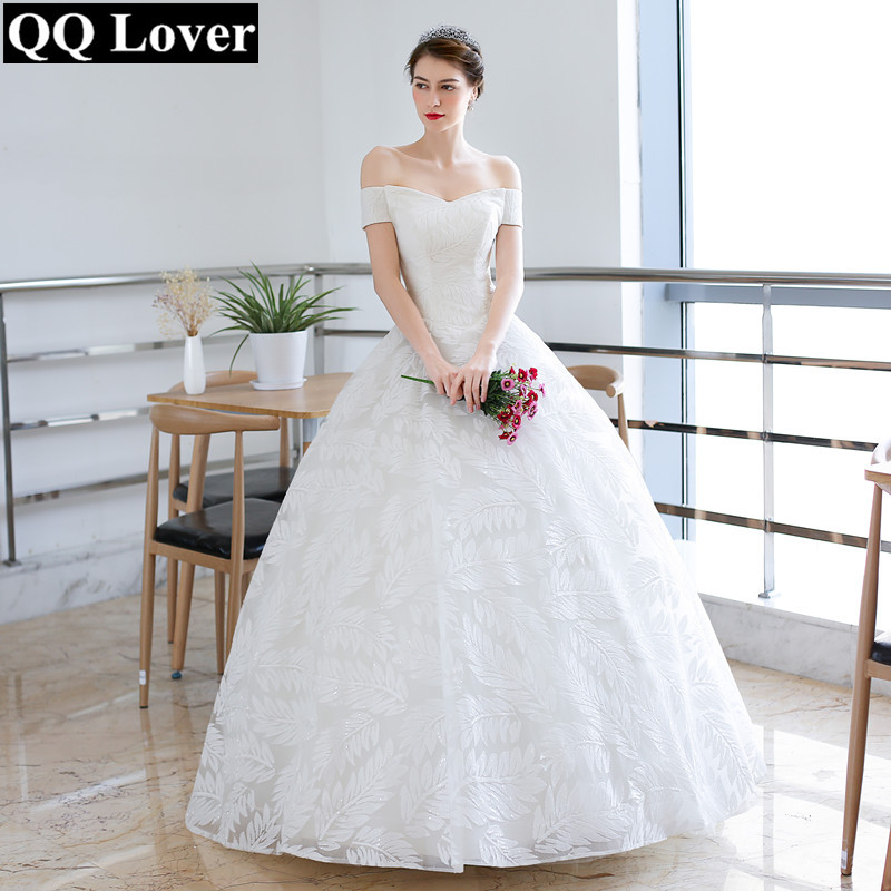 2019 Ball Gown Wedding Dresses: QQ Lover 2019 Leaves Lace Ball Gown Wedding Dress Off The